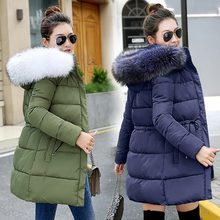 2019 tendencias chaqueta de invierno Chaqueta larga de mujer abrigo de algodón acolchado de piel femenina con capucha parka chaqueta de nieve al aire libre chaqueta básica abrigo