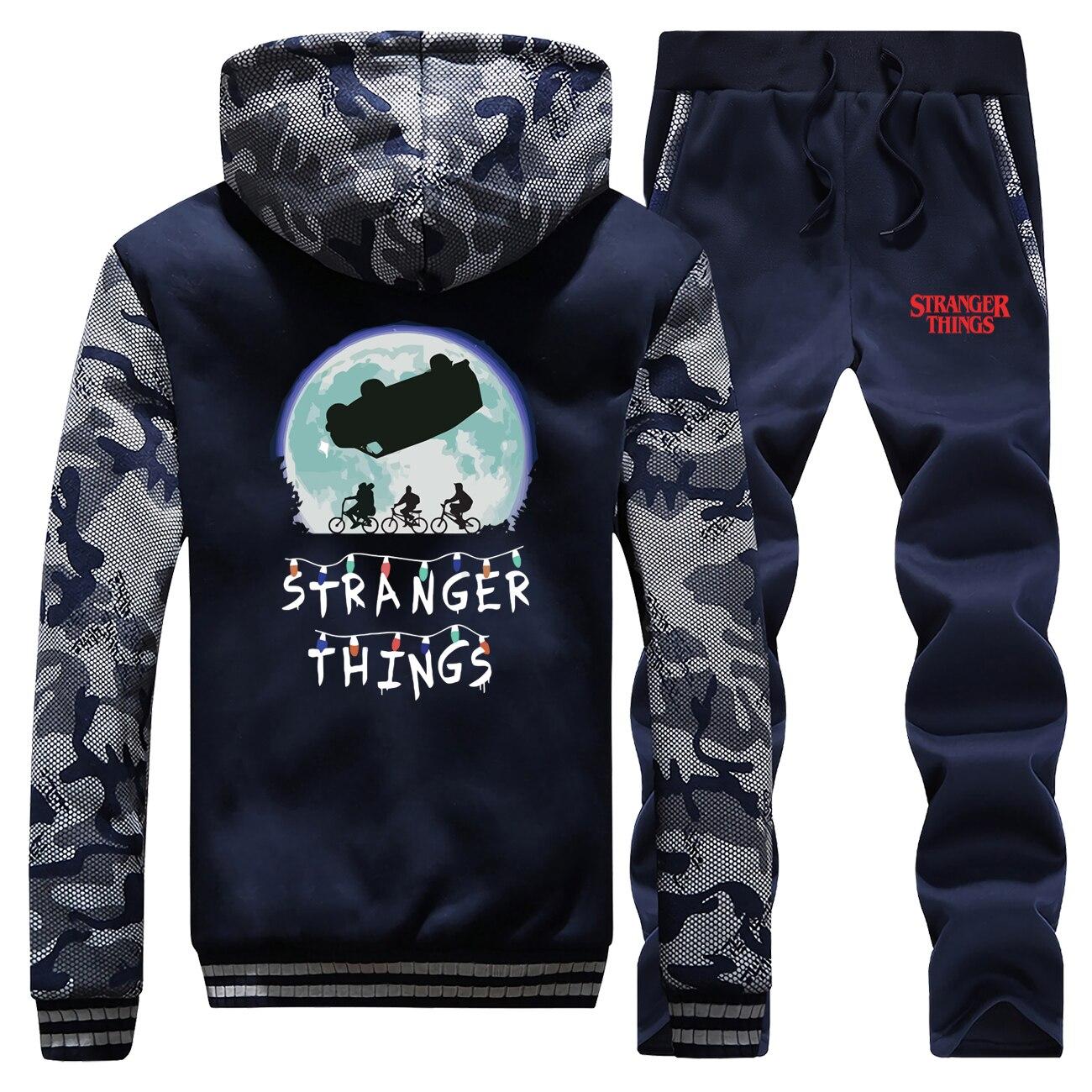 Hoodies Stranger Things Pants Set Horror Men Eleven Tracksuit Coat Winter Thick Fleece Jacket Sweatshirt Sweatpants 2 Piece Sets