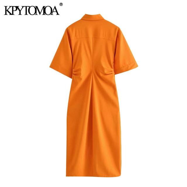 KPYTOMOA Women 2020 Chic Fashion Button-up Draped Midi Shirt Dress Vintage Short Sleeve Side Zipper Female Dresses Vestidos 2