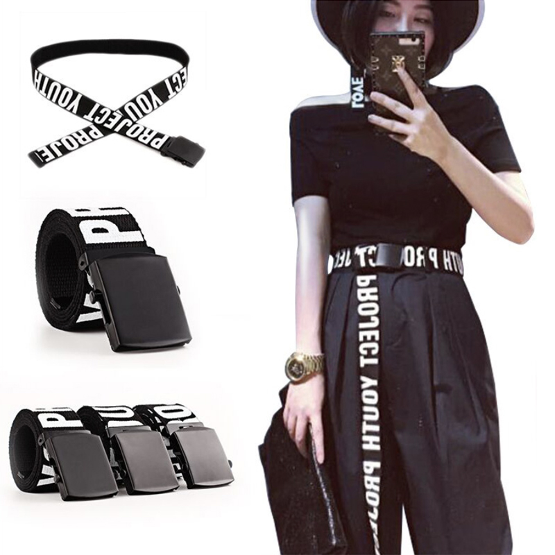 Adjustable All-Match Belt Unisex Korean Style Canvas Belts Letter Buckle Vintage Aesthetic Long Waistband Students Girls 2020