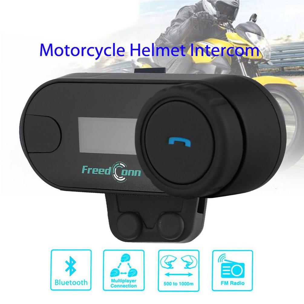 TCOM-SC Wireless Bluetooth Motorcycle Interphone Headset 800 Meters Range Helmet Intercom LCD Screen With FM Radio