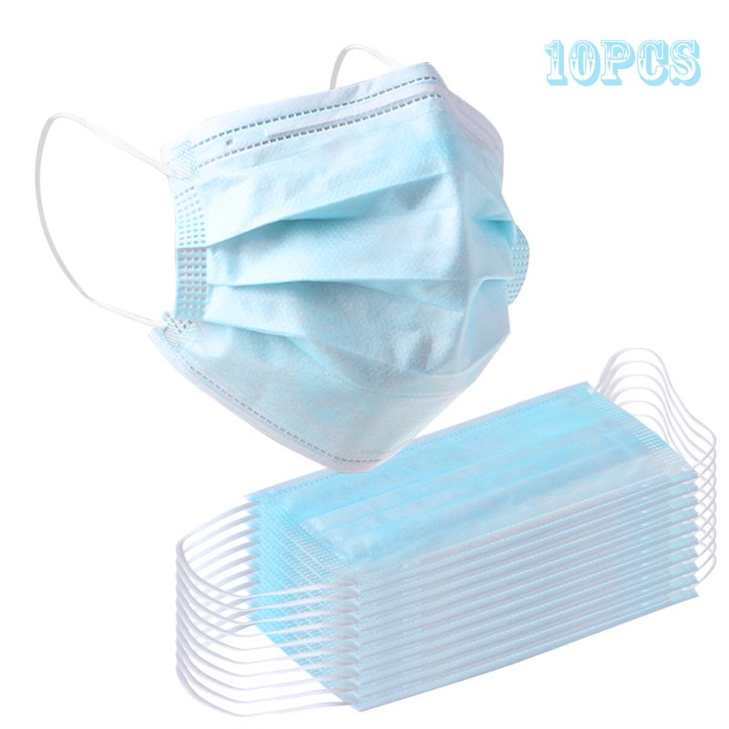 10pcs Non Woven Disposable Face Mask 3 Layer Earloop Anti-Dust Proof Respirator Mouth Safety Breathable Protection Masks
