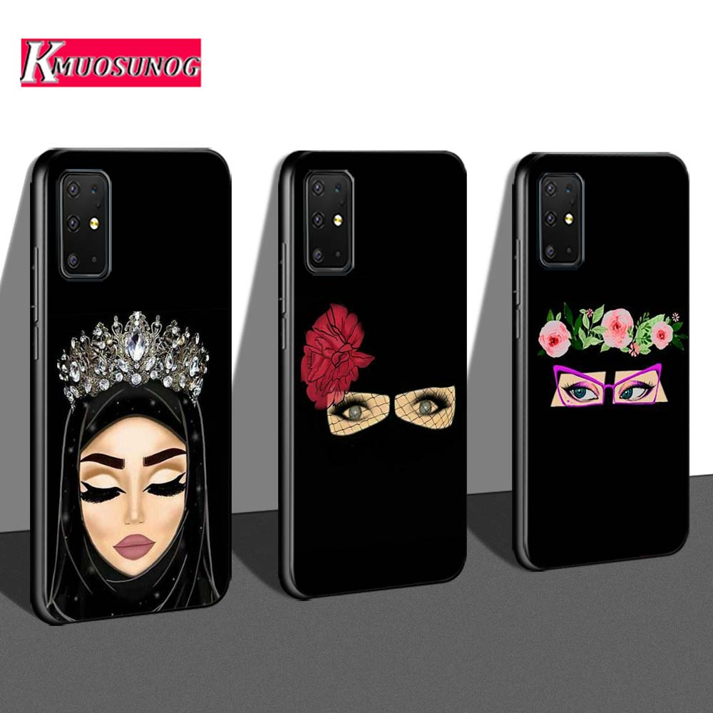 Black Cover Muslim Islamic Gril Eyes For Samsung Galaxy S20 Ultra Plus Note 10 Lite A01 A21 A51 A71 A81 A91 Phone Case