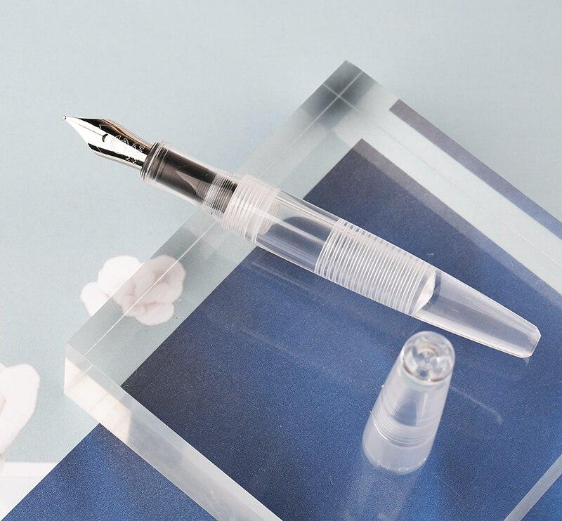 Moonman C2 Dropper Fountain Pen Iridium F/Bent Nib 0.5mm/1.0m Fully Transparent Large-Capacity Ink Storing Fashion Pen