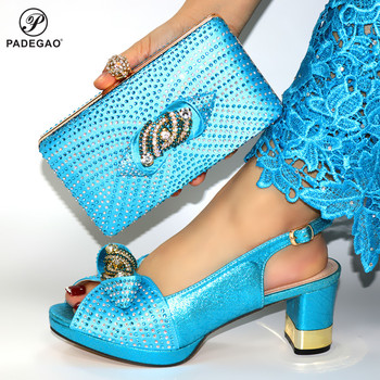 Mature Style 2020 New Coming Shoes and Bag Set in Blue Color Women Special Decorate with Rhinestone for Wedding