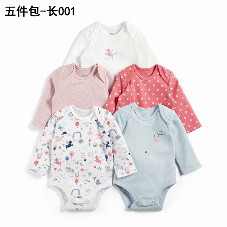 19 New Style Autumn And Winter Infants Long Sleeve Onesie Five-Piece Packaging Baby Onesie Pure Cotton Triangle Romper Crawling