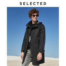 SELECTED Men's Autumn Parka Trench Coat Mid-length Single-breasted Outwear Business-casual Windbreak