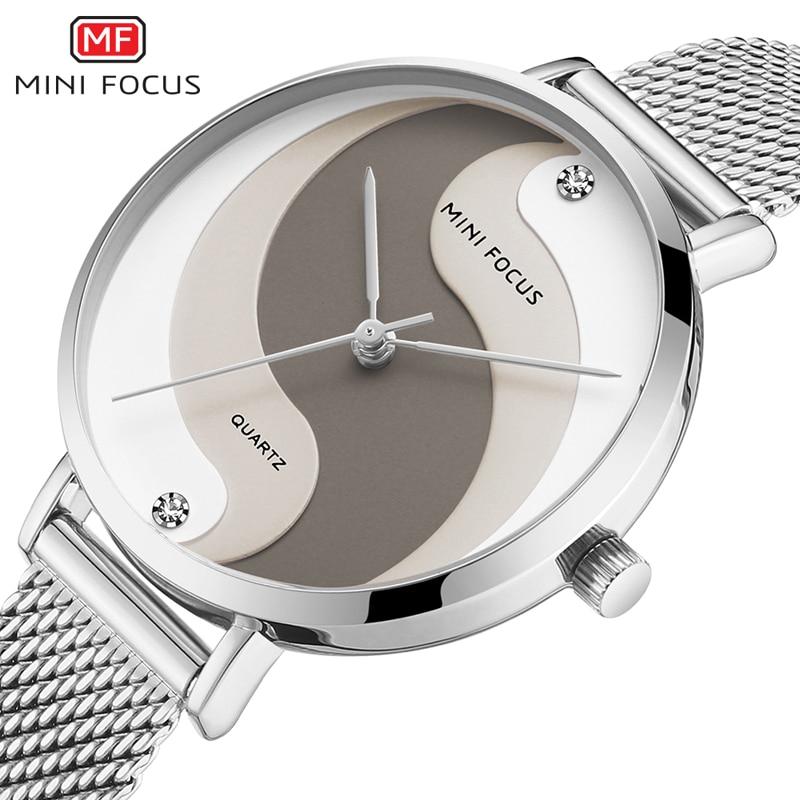 MINI FOCUS Women Watches Waterproof Top Brand Luxury Fashion Casual Ladys Watch Quartz Ladies Silver Stainless Steel Wristwatch