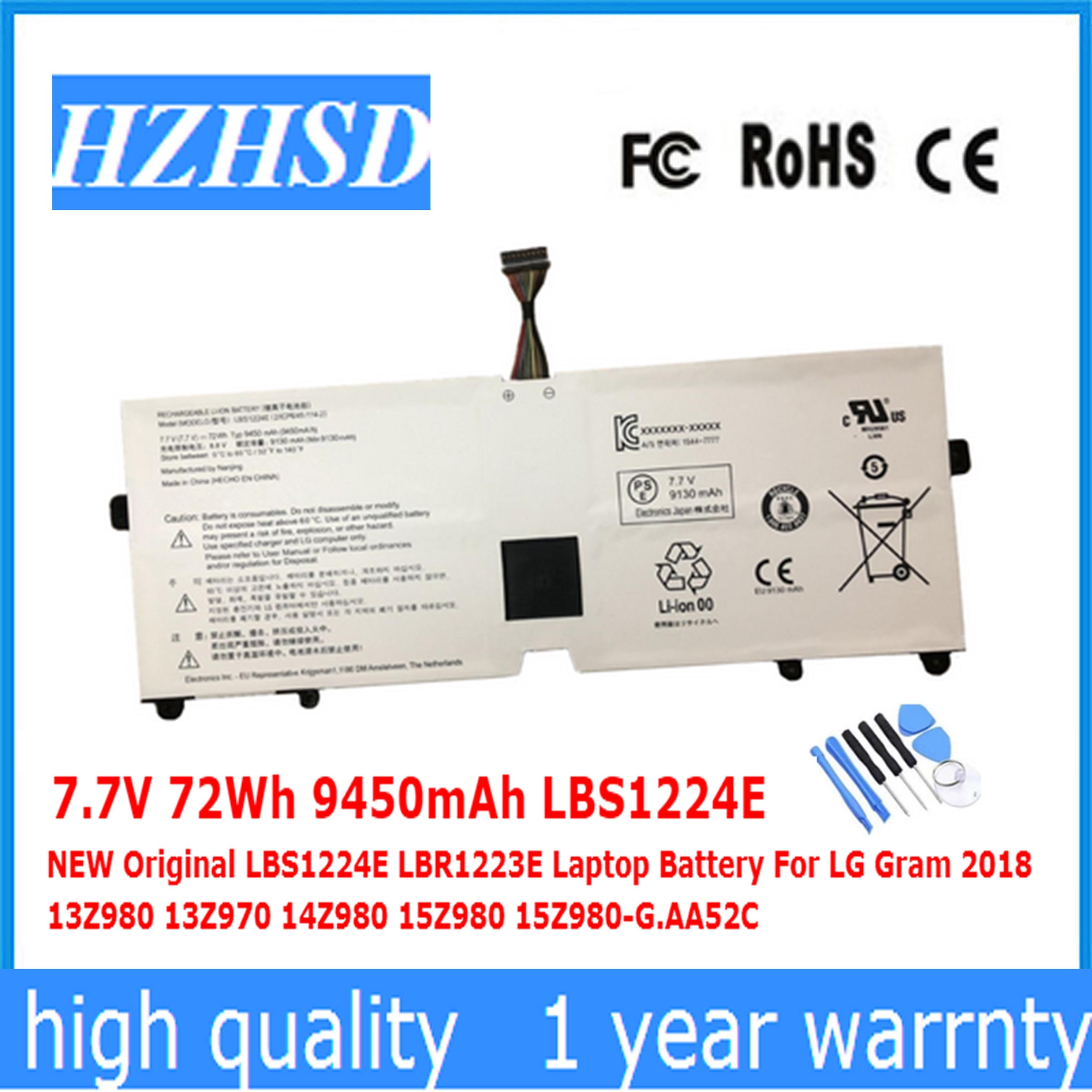 7.7V 72Wh 9450mAh LBS1224E NEW Original LBR1223E Laptop Battery For LG Gram 2018 13Z980 13Z970 14Z980 15Z980 15Z980-G AA52C