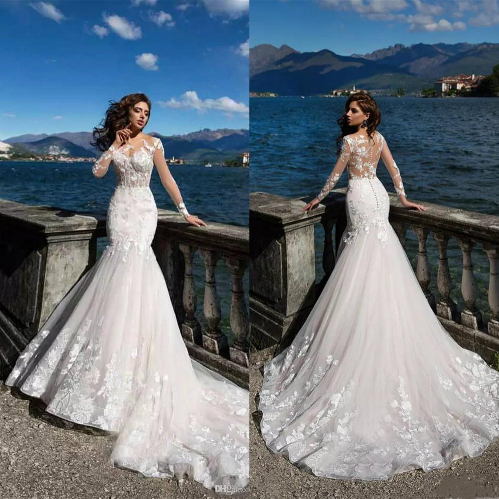 Mermaid Wedding Dresses Newest Sheer Backless Long Sleeve Appliqued Illusion Bodice Bohemian Summer Beach Bridal Gowns 2020