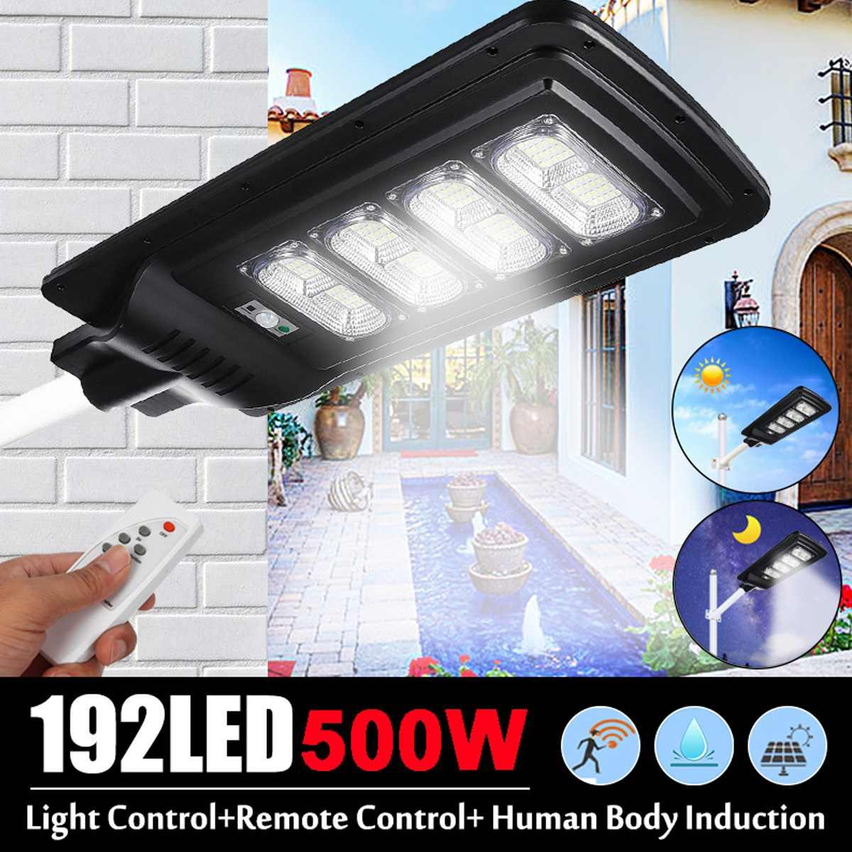 Smuxi 500w 192LEDs Solar Street Light IP67 Waterproor 3 Modes PIR Motion Sensor LED Outdoor w/Remote Controller Light Control