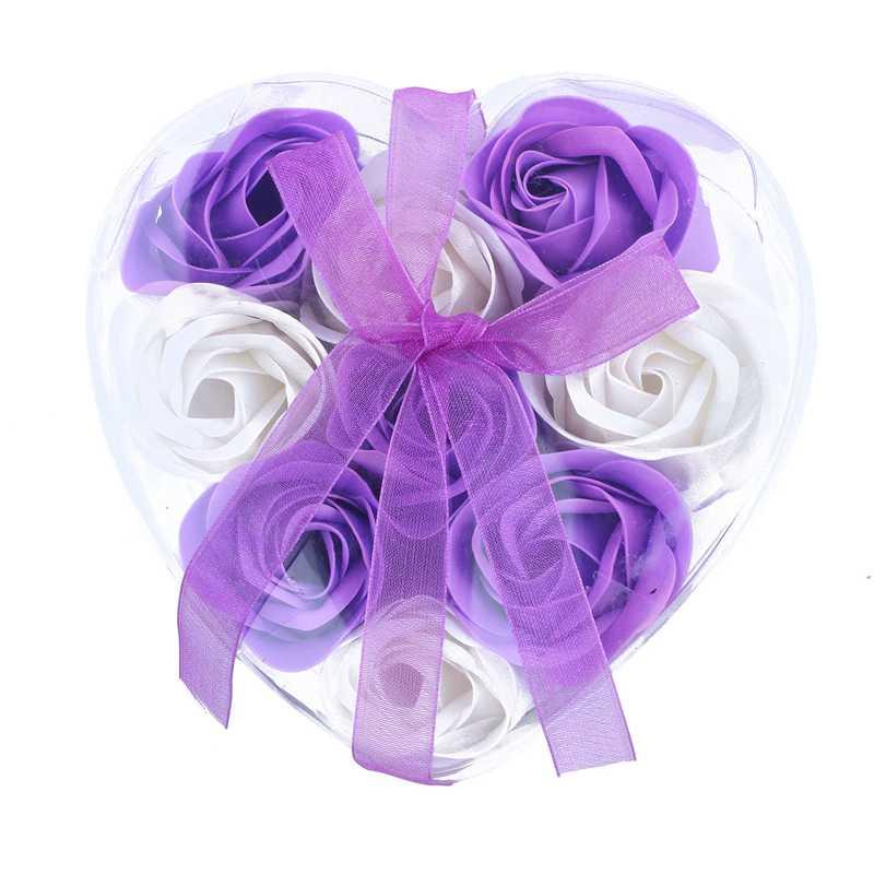 9Pcs Scented Rose Flower Petal Bath Body Soap Wedding Party Gift(Purple+White)
