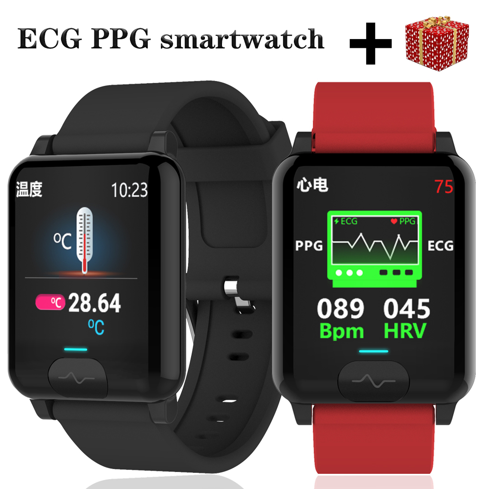 Ecg Ppg Smart Watch 2020 For Men Women Watches Android Ios Smartwatch E04s Blood Pressure Temperature Pedometer Bracelet Smart