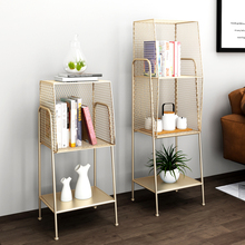 High and Low combination Nordic light luxury side cabinet shelf large capacity floor iron shelf structure stable modern simple b