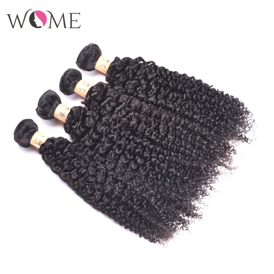 Image 5 - WOME Curly Hair Bundles Peruvian Human Hair 1/3/4 Bundles Natural Color 10 26 Inches Non remy Hair Weave ExtensionsHair Weaves   -