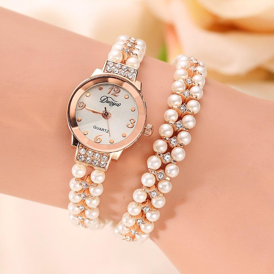 מהיר משלוח קוורץ שעון נשים זהב פרל תכשיטי Montre Femme פלדת צמיד שעוני יד קריסטל מקרית Zegarek Damski Saat