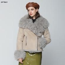 OFTBUY 2020 겨울 자켓 여성 진짜 양면 모피 코트 자연 몽골 양 모피 파커 바이커 Streetwear 빈티지 패션