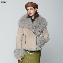 OFTBUY veste dhiver pour femme, véritable manteau de fourrure Double face, vraie fourrure de mouton mongolie naturelle Parka pour motard Streetwear Vintage, à la mode, 2020
