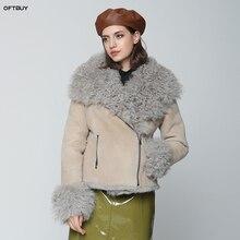 Женская Двухсторонняя куртка OFTBUY, винтажная Байкерская парка с натуральным мехом монгольской овцы, зима 2020