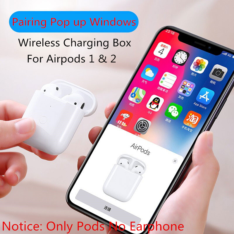 Hacrin Charging Case For <font><b>Airpods</b></font> Charging Box Pairing <font><b>Pop</b></font> <font><b>up</b></font> Windows Cover On For Apple Air pods 1&2 450Mah Wireless Charger image