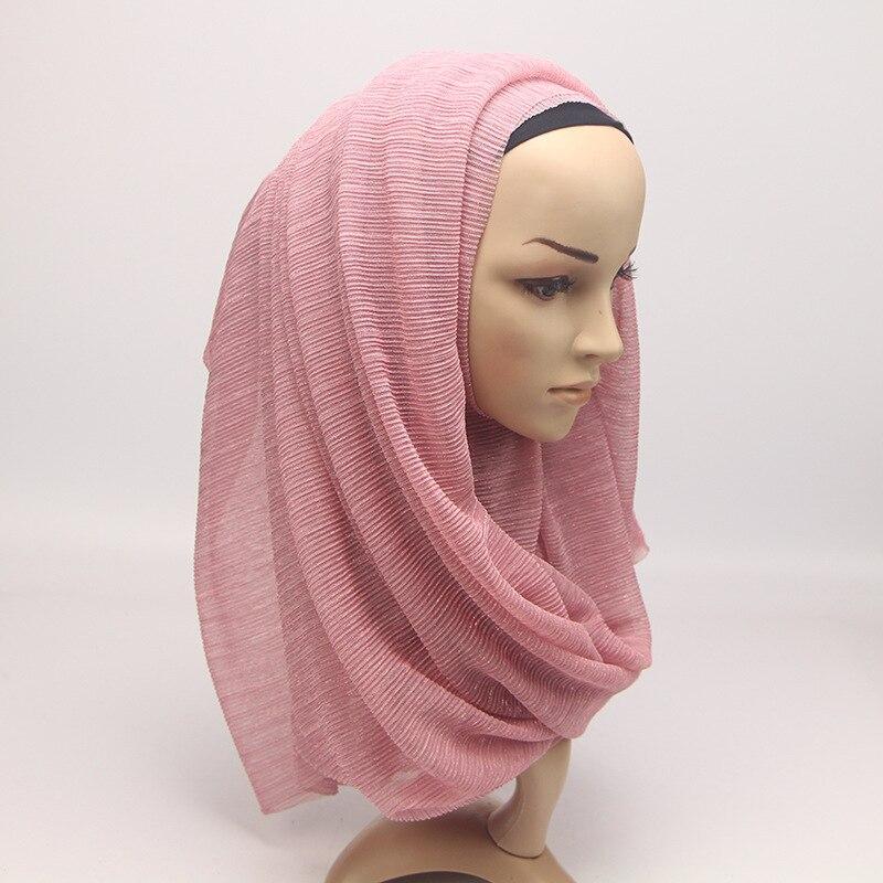 Image 4 - 2020 New Summer Ladies Gold Muslim Crinkle Wrinkle Glitter  Shimmer Hijab Scarf Shawl Women Pleated Islamic Arab Head  ScarvesWomens Scarves