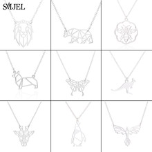 SMJEL – collier Origami en acier inoxydable pour femmes, chaîne à maillons, pendentif Animal chien, girafe, pingouin, ours, déclaration