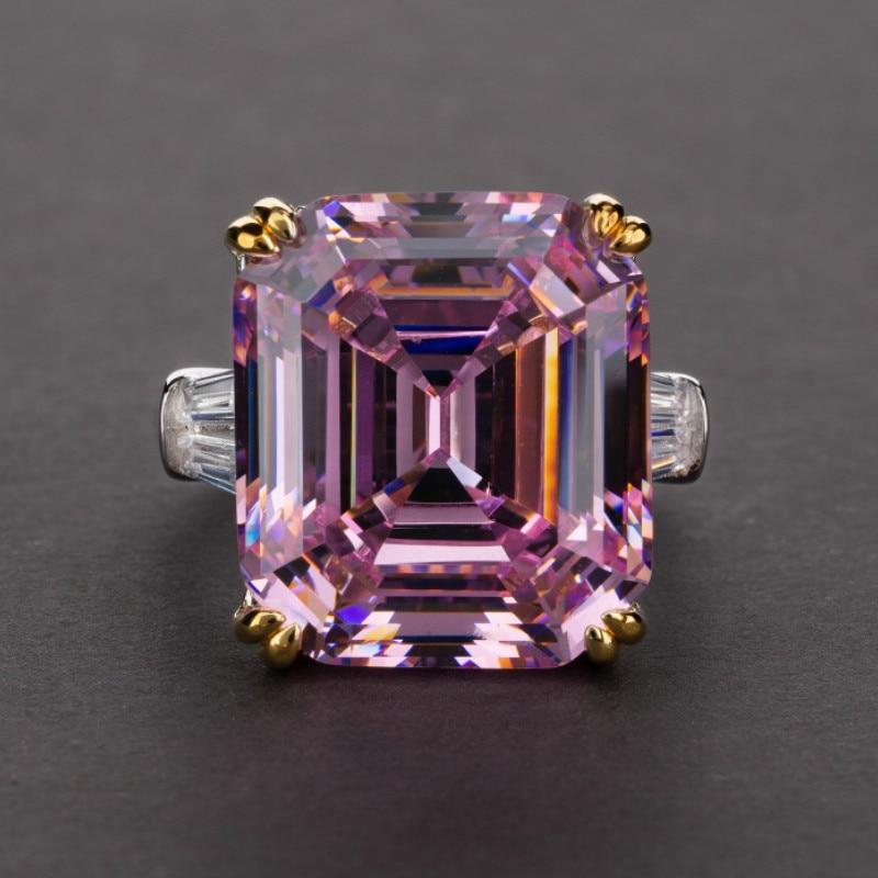 Requintado sólido 925 prata esterlina jóias anéis para mulher luz rosa branco birthstone cocktail festa anel presentes anel de casamento