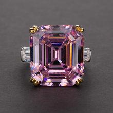 絶妙な固体925スターリングシルバージュエリーリング女性ライトピンクホワイト誕生石カクテルパーティーリングギフト結婚指輪