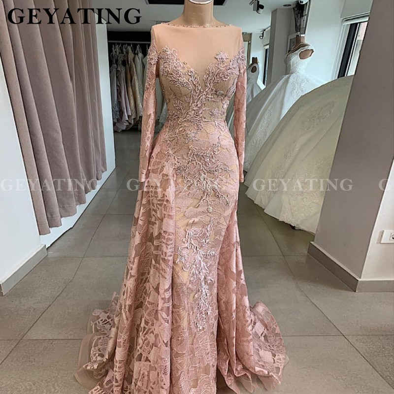Arabic Dusty Pink Lace Mermaid Prom Dresses Long Sleeve Muslim Evening Dress 2020 Sheer Neck Dubai Court Train Party Gowns