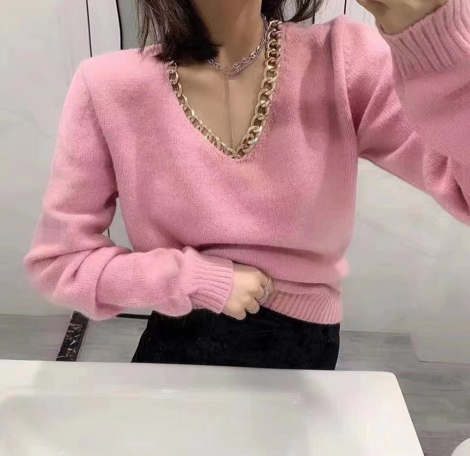 2020 Fashion Korea Solid Color V-Neck Women Sweaters Long Sleeve Pullovers Knitting Alloy Chain Decoration Sweater Female