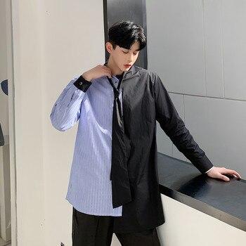 Shirt Men Striped Patchwork Leisure Loose Shirts Necktie collar Long Sleeve Oversize Harajuku Camisas Hombre Daily Chic incerun men shirt long sleeve striped patchwork lapel collar chic casual shirts men button breathable camisas hombre 2020 s 5xl