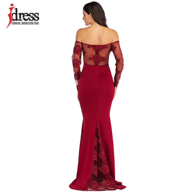 IDress Sexy Slash Neck Off Shoulder Designer Runway Dress Formal Prom Long Dress Women Lace Embroidery Evening Party Dress Long (16)