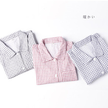 Autumn And Summer New Pajamas Plaid Cotton  Ladies Long Sleeve Suit Home Clothes 1250