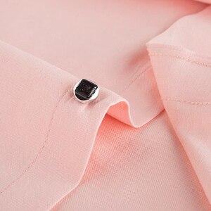 Image 5 - גברים רגילה fit של ארוך שרוול מוצק פשתן חולצה אחת תיקון כיס כיכר צווארון פנימי מנוקדת מזדמן כפתור עד דק חולצות