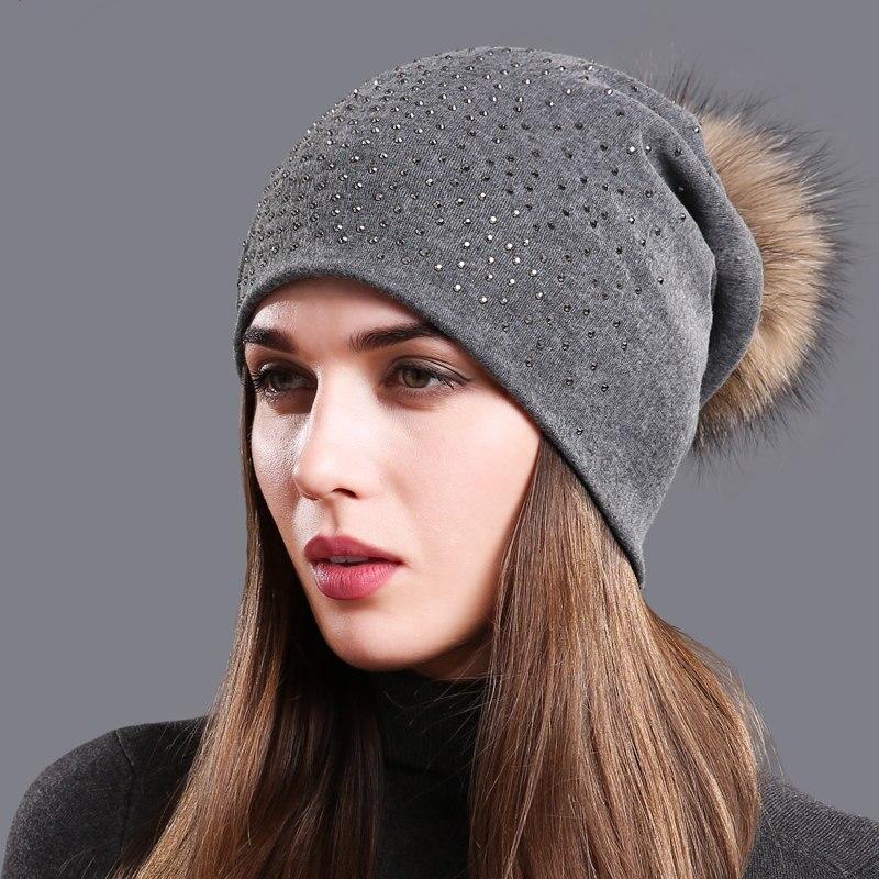 Women's Cotton Rhinestone Beanie Hat Autumn Raccoon Fur Pompom Slouchy Beanies For Femme Winter Pompom Balls Skullies Beanies