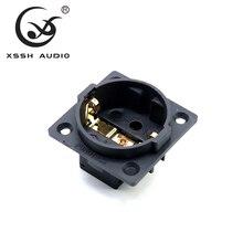 4pcs XSSH pure copper plated Rhodium Gold Neutral Furutech FI E30 AC 250V 16A EU Euro Schuko 2 pin IEC inlet Power plug socket