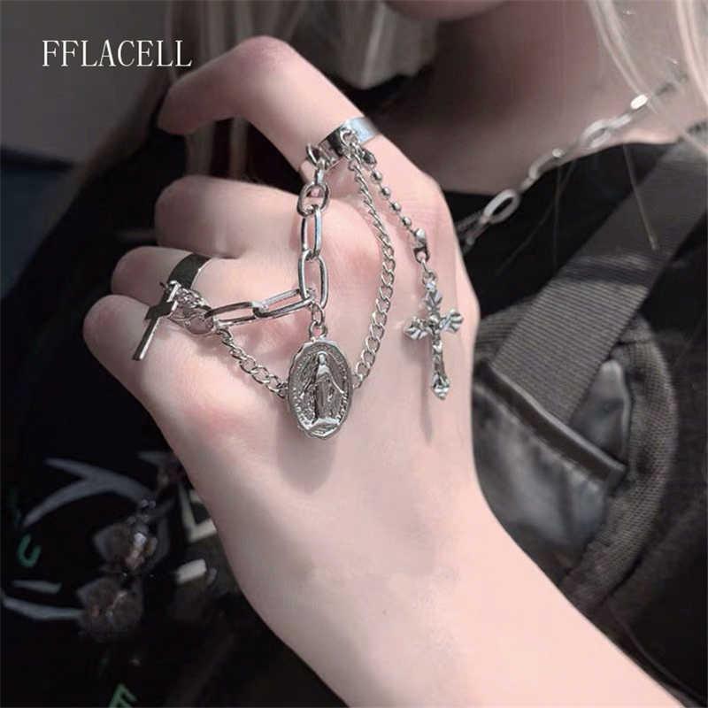 Fflacell 2020 nova moda de metal do vintage punk hip hop estilo cruz siamês ajustável aberto anel festa presente jóias