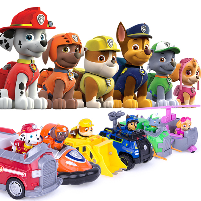 Paw Patrol Dog Car Patrulha Canina Anime Figure Plastic Action Figure Decoration Toys For Children Birthday Christmas Gifts 18Z