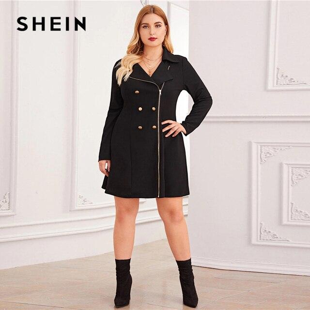 SHEIN Plus Size Black Zipper Front Double Button Blazer Dress Women Autumn Lapel Collar A Line Elegant Plus Mini Dresses 4
