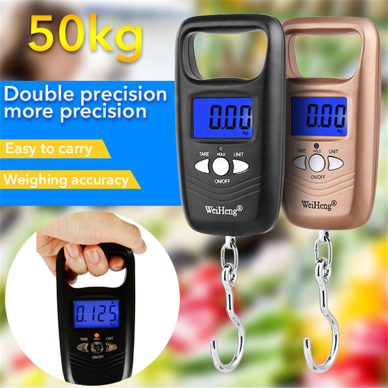 Junejour Mini Luggage Scale Portable Pocket Weighing Scale With Hanging Hook 50kg/110lb Capacity 1Pcs