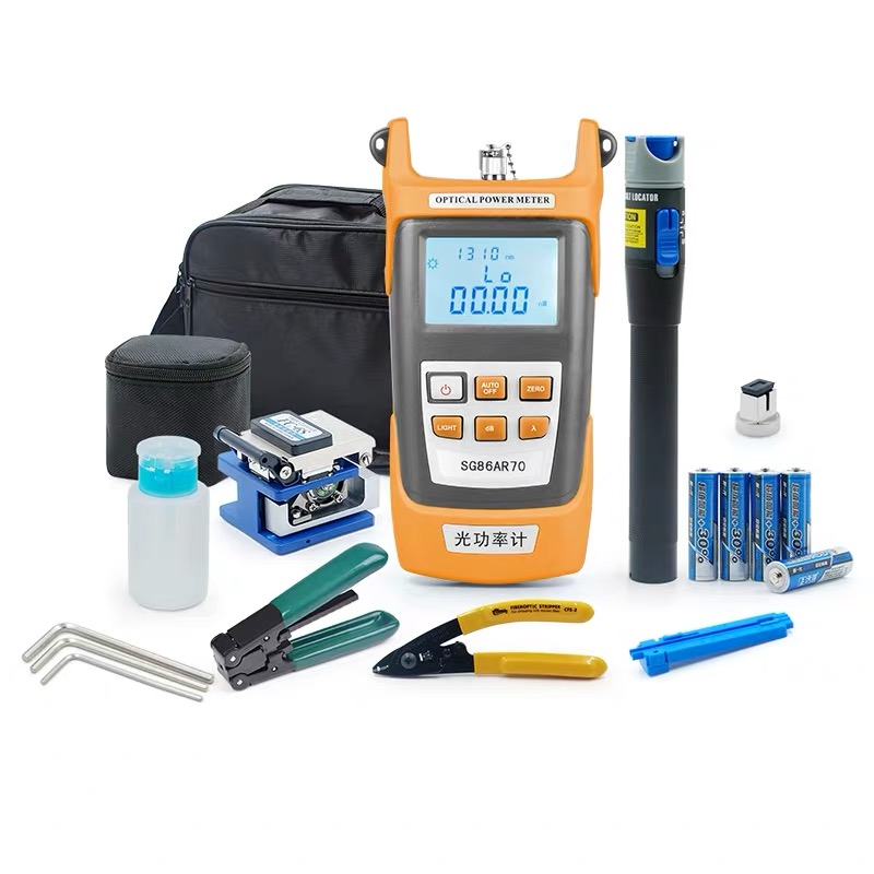 Fiber Optic FTTH Tool Kit With FC-6S Fiber Cleaver And Optical Power Meter 5km Visual Fault Locator 1mw Wire Stripper
