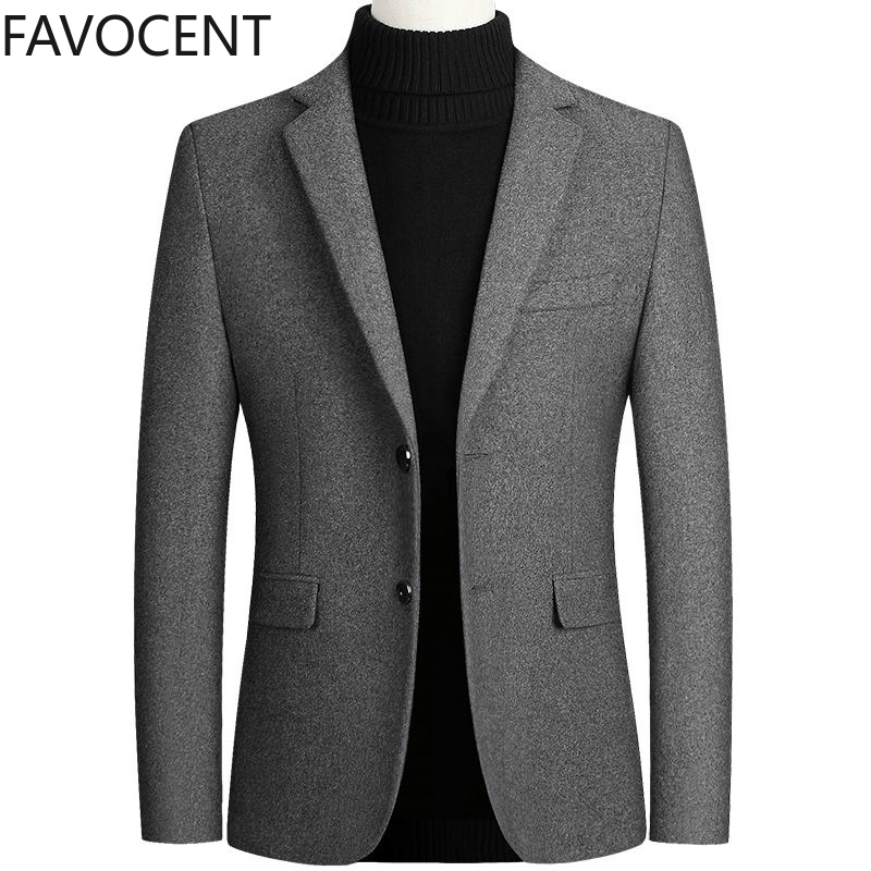 High Quality Men's Wool Suit Coat Wool Blends Suit Top Male Jacket Classic Solid Color Business Casual Mens Coats and Jackets
