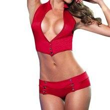 Женский комплект из 2 предметов сексуальное женское белье-бандаж Клубная одежда для стриптиза комплект нижнего белья из лакированной кожи Babydoll Ropa interior 3,53