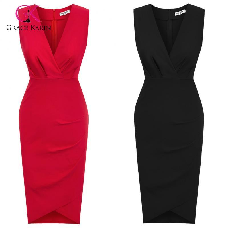 Grace Karin Women's Elegant Slim Formal Business Dress Sleeveless Pnecil Dresses Office Ladies Wear To Work Bodycon Dress Summer