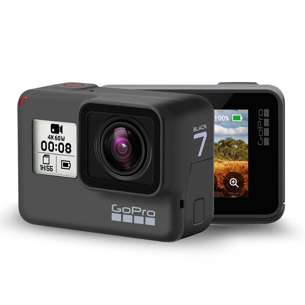 Original gopro hero 7 preto câmera de ação à prova dwaterproof água 4 k ultra hd vídeo 12mp fotos 1080p streaming ao vivo ir pro hero7 esportes cam
