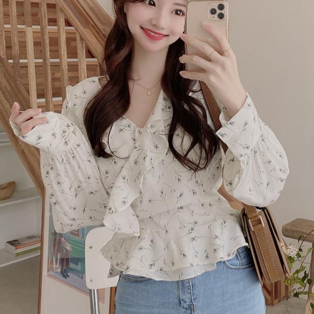 Blusas 2021 Spring Elegant Tops Blouse Women Long Sleeve Floral Chiffon Shirt Women Puff Sleeve Chic Office Lady Clothing 10249 4