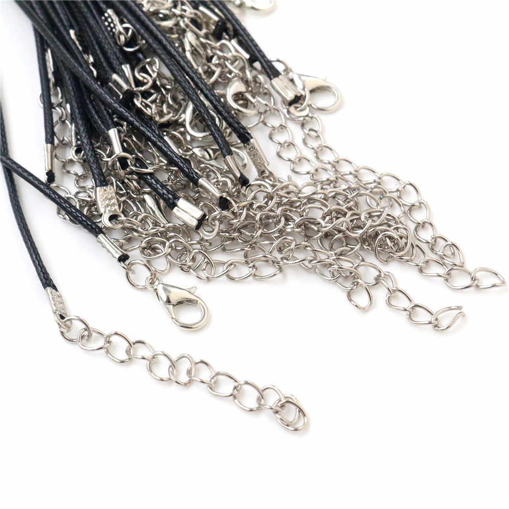 20 pçs/lote real artesanal de couro ajustável corda trançada colares & pingente encantos descobertas lagosta fecho corda cabo 2 mm