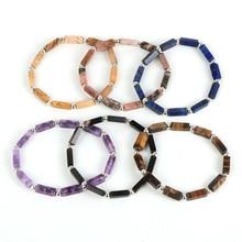 12 Styles Rectangle Natural Gem Stone Beads Elastic Bracelet Men Women Fashion BOHO Jewelry Couple Bracelets