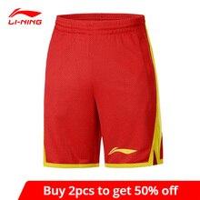 Мужские баскетбольные шорты Li-Ning AAPP051, спортивные шорты из полиэстера, с сухими карманами, на шнурке, с подкладкой
