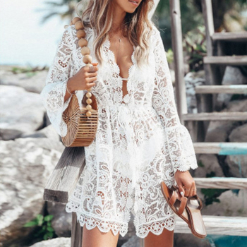 Summer Beach Blouse Women Bikini Tops Lace tunic Hollow Out Crochet Tassel Robe Cover Up Kimono Cardigan Swimsuit cold shoulder lace up striped blouse